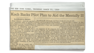 Koch Backs Pilot Plan to Aid the Mentally Ill
