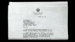 Letter from Mayor Koch