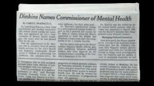 Dinkins names commissioner of mental health
